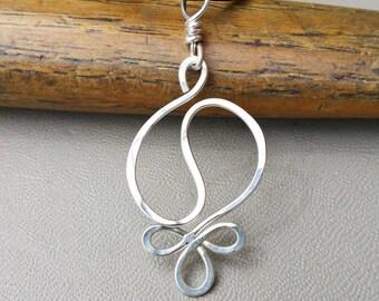 Yin Yang Harmony Sterling Silver Pendant Necklace, Yin Yang Necklace Hammered Wire Silver Necklace, Yin Yang Jewelry, Yinyang Gift for Women