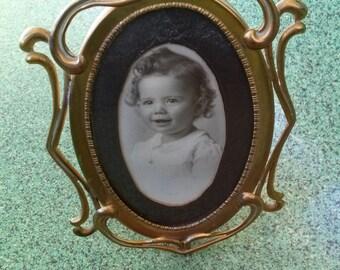Vintage 1910s Frame Edwardian Art Nouveau Ornate Brass Picture Frame 20161224J300