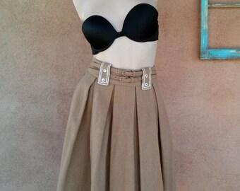 Vintage 1960s Skirt 60s Pleated Wool Camel Brown W25 US4