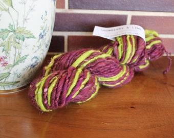 Handspun yarn, super bulky, Merino wool, silk and sparkle, 4.3oz - grape & lime
