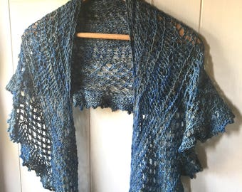 Hand knit blue lace crescent shawl/wrap