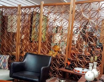 Mid Century Teak Wood Geometric Room Divider Screen