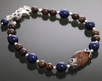 CLEARANCE. Bronzite and Lapis Lazuli Bracelet. Sterling Silver. Genuine Gemstones. Adjustable Bracelet. Fits Most. s12b004