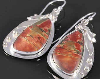 Red Creek Jasper Earrings. Sterling Silver. Dangle Earrings. Natural Gemstone. One of a Kind. s16e018