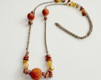 Coral and Multi Semi-Precious Stone Beaded Necklace