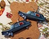 Vintage Hearse Earrings handmade ooak wood stainless earwires handmade jewelry funeral kitsch dark humor six feet under fandom macabre