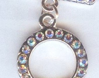 Beautiful Silver Ornate Toggle Clasp with Clear Crystal AB Rhinestones 18mm 1 set