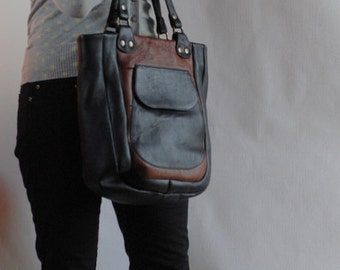 SALE! Black and brown tote bag, handmade, upcycled leather