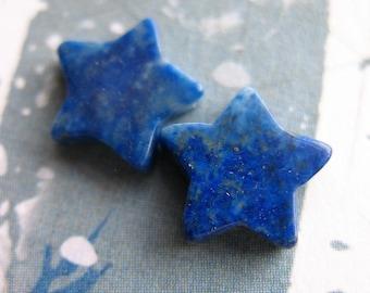 Natural Lapis Lazuli Star Beads - 1 pair - 10mm Straight Drilled