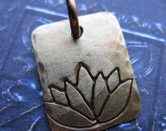 Antiqued Brass Lotus Stamped Small Rectangle Charm - 15mm in length