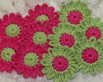 Crochet Daisies Flower Applique Embellishment - ROSE PINK/LIME - 10 Pcs