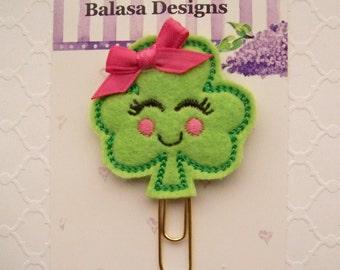Shamrock Girl St Patricks Day Planner Clip, Bookmark, Planner Accessory, Paper Clip