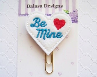Be Mine Heart Valentine Planner Clip, Bookmark, Planner Accessory, Paper Clip