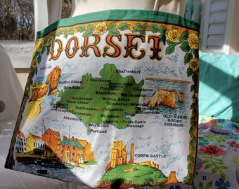 Upcycled Tote Bag, Upcycled Tea Towel, Dorset United Kingdom, Green Tote, Eco Tote, Market Tote, Grocery Tote, Library Tote, OOAK, England