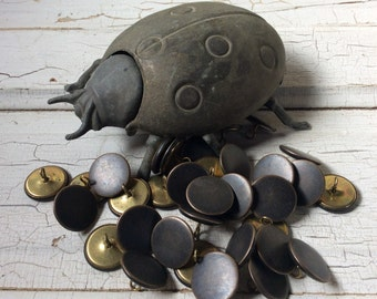 Bronze Buttons,Vintage Metal button,Faux bronze,New old stock,Large loop shank coat buttons,Bronze look button,Set of 6,Pressed metal button