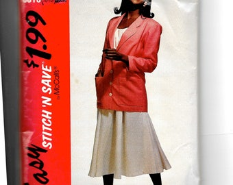 McCall's Misses' Unlined Jacket, Top and Skirt Pattern 5915