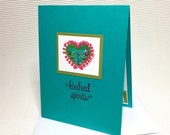 Kindred spirits card handmade stamped tie-dyed heart friendship love anniversary bright colorful stationery greeting party paper