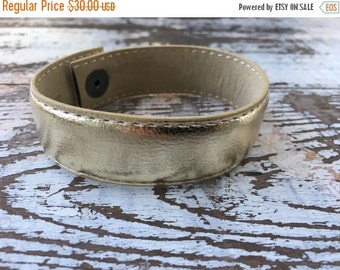 40% OFF- Custom Leather Cuff-Create Your Own-Faux Gold Leather-Word Cuff
