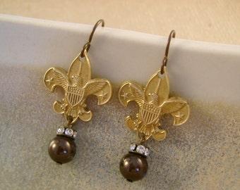 Be Prepared - Vintage Boy Scout Pins Rhinestones Pearls Niobium Fleur de Lis Recycled Repurposed Upcycled Steampunk Jewelry Earrings