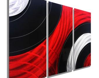 Red, Black & Silver Modern Metal Wall Art Sculpture, Abstract Metal Painting, Contemporary Decor, Set of 3 - Critical Mass 2 by Jon Allen