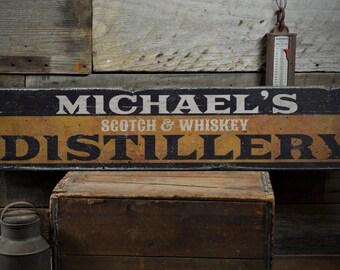 Scotch Whiskey Distillery Wood Sign Custom Distiller Bar Owner Name Home Pub Decor