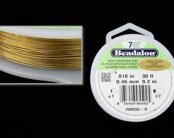Gold 0.46mm 7 Strand Flexible Beading Wire (30 Ft)  #WRD118