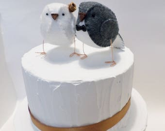 Wedding cake topper, hand sewn lovebirds in grey and white