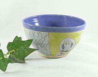 Handmade Decorative Artistic Ceramic bowl with owl for soup salad dessert pottery and ceramics, serving dish 669