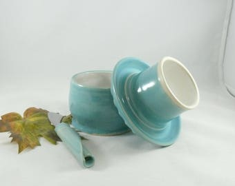 Large French Butter Crock in robin's egg blue pottery and ceramics,  kitchen gadget ceramic  butter keeper dish