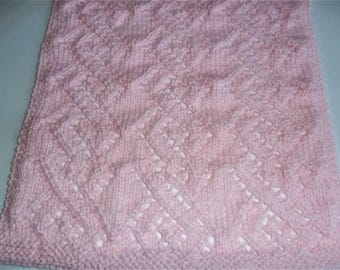 Knit Doll Blanket-Pink Doll Blanket-Hand Knit Doll Blanket-Cuddle Blanket-Pink Lacy Blanket-Reborn Doll Blanket-Doll Accessories