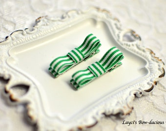 Green Stripe Hair Clips - toddler girl clips - baby hair clips - clippies - baby girl hair clips - no slip hair clips - set of two
