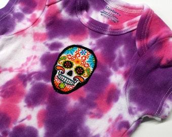 Tie Dye Sugar Skull Onesie-Baby Girl-6-9 month-Baby Gift