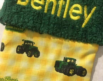 LAST 1 Yellow John Deere Tractor and Chenille Handmade Christmas Stocking with FREE U S  SHIPPING