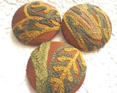 CLEARANCE Green/dark rust/gold buttons,  crewel buttons, embroidered fabric buttons, covered buttons, 1 7/8 inches