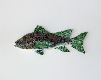 Ceramic fish art sea bass decorative wall hanging