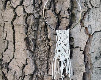 Leather Macrame Long Silver Choker Necklace - textured jewelry - white lambskin - boho - bohemian chic