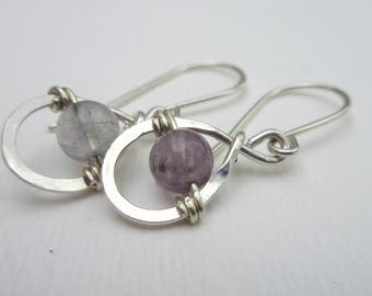 Fluorite Earrings - Silver Tear Drop Earrings - Purple Gemstone - Sterling Silver Earrings - Petite Earrings - Gift for Her - Bridesmaid