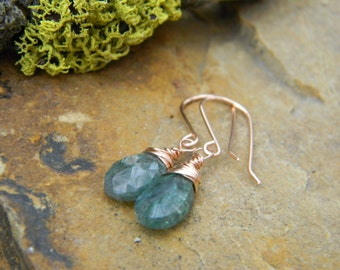 Gree Labradorite Rose Gold Earrings -  14k gold filled earwires