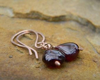 Garnet on Rose Gold Earrings -  14k gold filled earwires