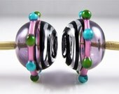 Raised Stripe and Dots Hollow Lampwork Glass Bead Pairs