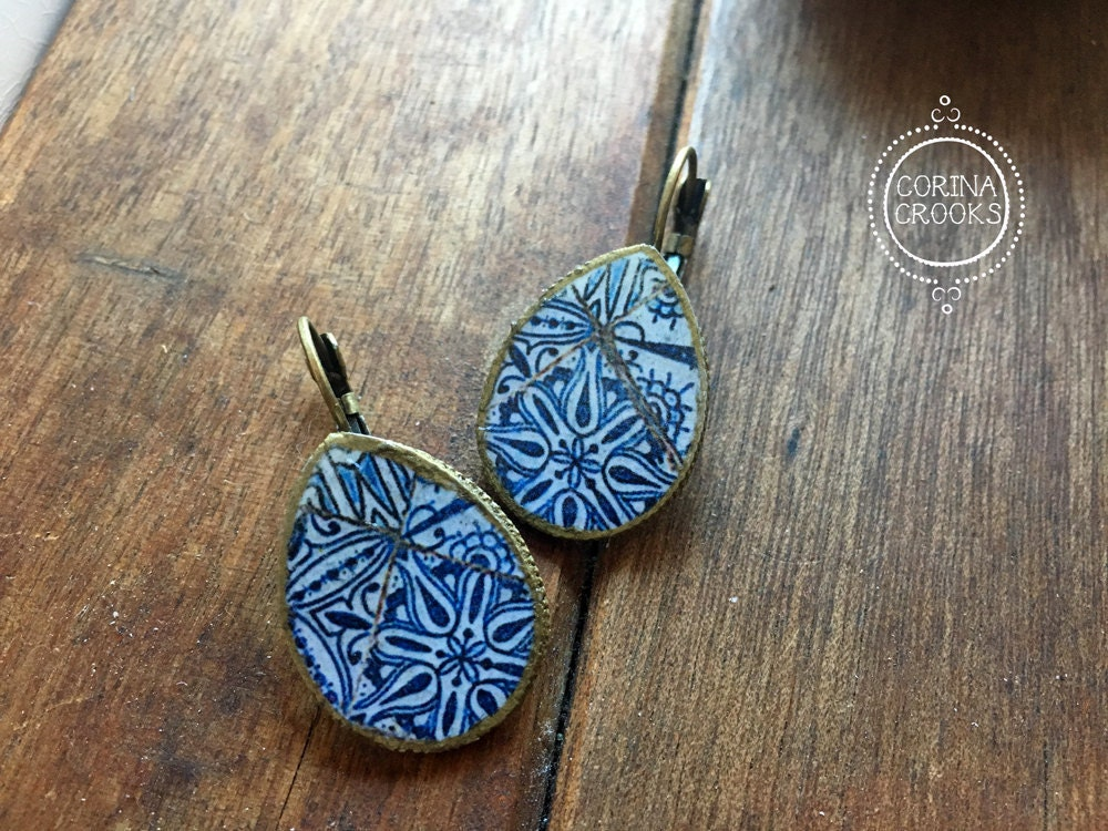 Portuguese jewelry tile mural pattern earrings teardrop for Mural jewellery