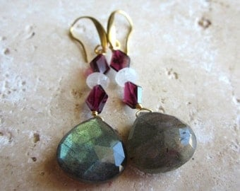BlackFridaySale Labradorite Drop Earrings, Moonstone and Garnet, Faceted Briolette Earrings, Gold, Under 50, Gold,
