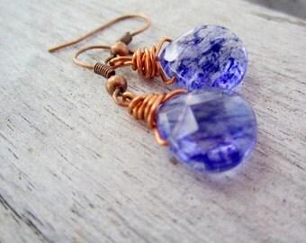 Blueberry quartz earrings in teardrop, faceted design, wrapped in copper wire / women's beaded, dangle jewelry in purple and copper