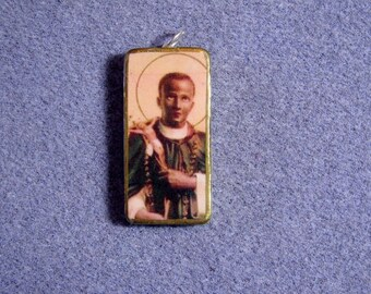 St. Martin de Porres Catholic Art Recycled Domino Pendant Necklace Patron Mixed Races