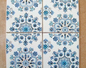 Vintage Wallpaper Coasters - Blue Floral