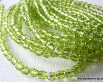 4mm Czech Beads - Silver Lined Olivine Firepolished Faceted 50 pcs (G - 36)