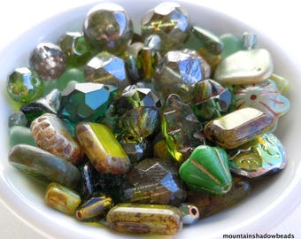 Olivine Green Bead Soup Mix  - Czech Glass Beads 30 grams from Mountain Shadow