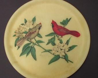 Vintage Fiberglass Tray Grace Gilmore Platter Cardinals Birds Red Round Serving Mid Century
