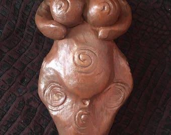 INANNA Ancient GODDESS Altar Art Fertility Figure earth copper tones sacred designs spirals statue handsculpted art divine feminine shamanic