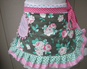Pink Roses Womens Aprons - Chloe Rose Vine Aprons - Shabby Chic Apron - Bridal  Handmade Apron - Chic and Shabby Apron - Annies Attic Aprons
